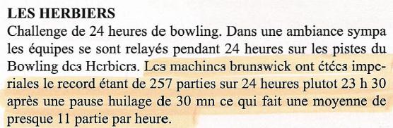Les Herbiers - 24 heures de bowling